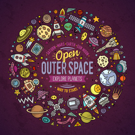 cartoon space: Colorful vector hand drawn set of space cartoon doodle objects, symbols and items. Round frame composition