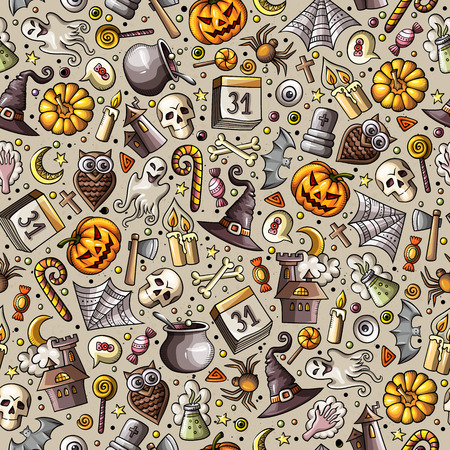 Cartoon cute hand drawn Halloween seamless pattern. Colorful detailed, with lots of objects background. Endless funny vector illustration. Bright colors holiday backdrop.