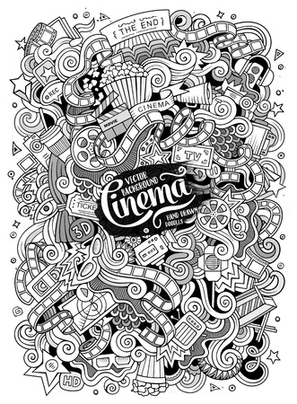 theme: Cartoon cute doodles hand drawn cinema frame design. Line art detailed, with lots of objects background. Funny vector illustration. Sketchy picture with movie theme items Illustration