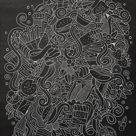fastfood: Cartoon cute doodles hand drawn Fastfood illustration. Chalkboard detailed, with lots of objects background. Funny vector artwork. Line art picture with fast food theme items Illustration
