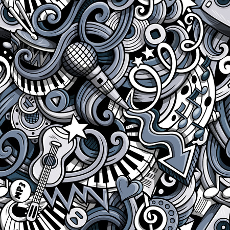 music notes vector: Cartoon cute doodles hand drawn Musical seamless pattern. Monochrome detailed, with lots of objects background. Endless funny vector illustration. Backdrop with music symbols and items