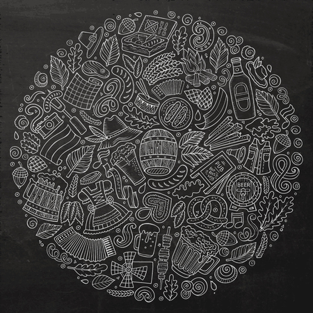 beer fest: Chalk board vector hand drawn set of Beer fest cartoon doodle objects, symbols and items. Round form composition
