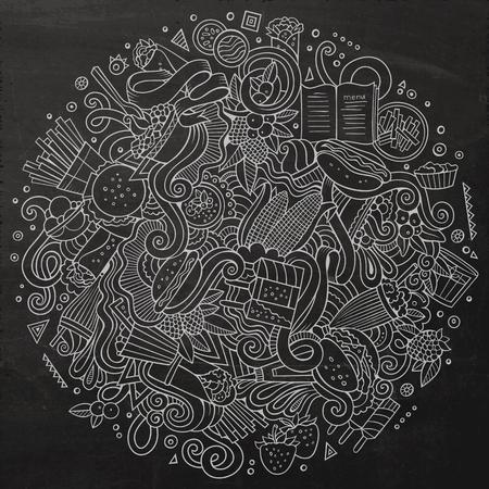 fastfood: Cartoon nguệch ngoạc dễ thương vẽ tay Fastfood minh họa. Bảng đen chi tiết, với nhiều nền đối tượng. vector tác phẩm nghệ thuật hài hước. hình ảnh nghệ thuật phù hợp với các mặt hàng chủ đề thức ăn nhanh