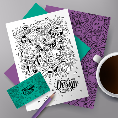 poster art: Cartoon cute vector hand drawn doodles Designer corporate identity set. Templates design of business card, flyers, posters, papers on the table.
