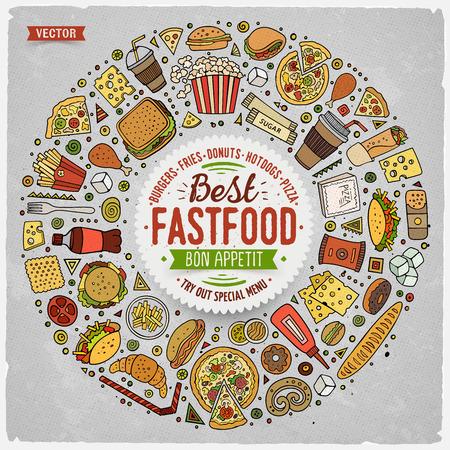 Colorful main vecteur dessiné ensemble de fast-food griffonnage de bande dessinée des objets, des symboles et des objets. composition du cadre rond