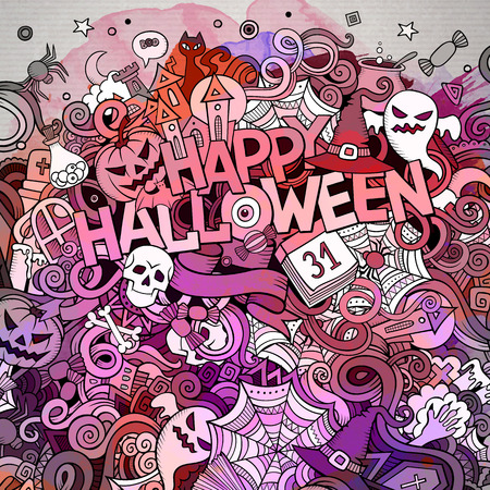 Cartoon cute doodles hand drawn Happy Halloween illustration. Bright colors picture with holiday theme items. Illustration
