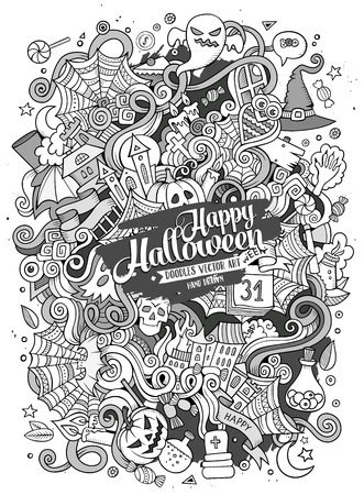 Cartoon cute doodles hand drawn Halloween illustration. Line art detailed, with lots of objects background. Funny vector artwork. Sketched picture with holiday theme items.