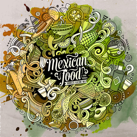lots: Cartoon cute doodles hand drawn Mexican food illustration. Line art detailed, with lots of objects background. Funny vector artwork. Watercolor picture with Mexico cuisine theme items