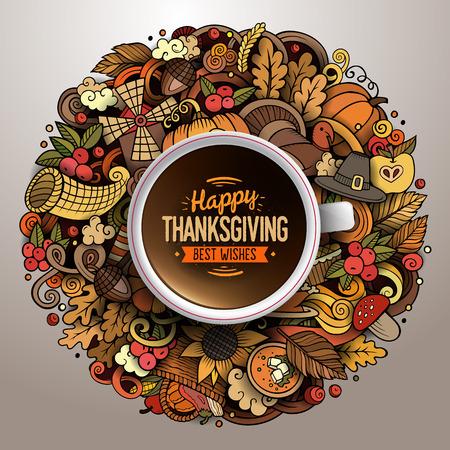Ilustración del vector con una taza de café con dibujados a mano garabatos de Acción de Gracias en un platillo Ilustración de vector