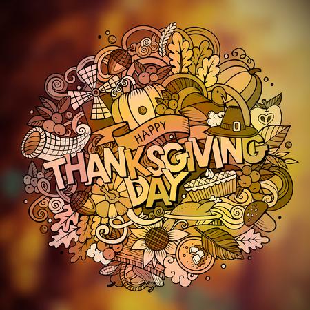 Thanksgiving hand lettering and doodles elements and symbols emblem. Vector blurred background. Funny vector artwork