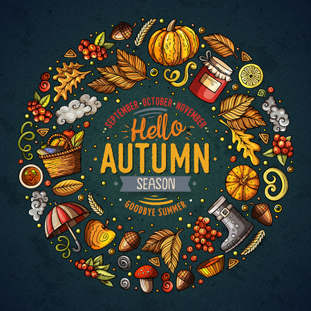 hand jam: Colorful vector hand drawn set of Autumn cartoon doodle objects, symbols and items. Round frame composition