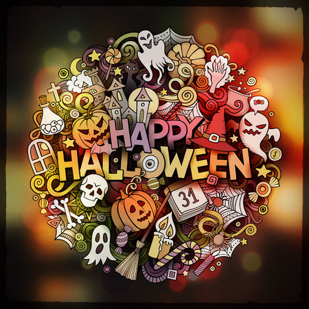 Halloween hand lettering and doodles elements and symbols emblem. Vector blurred background. Funny vector artwork