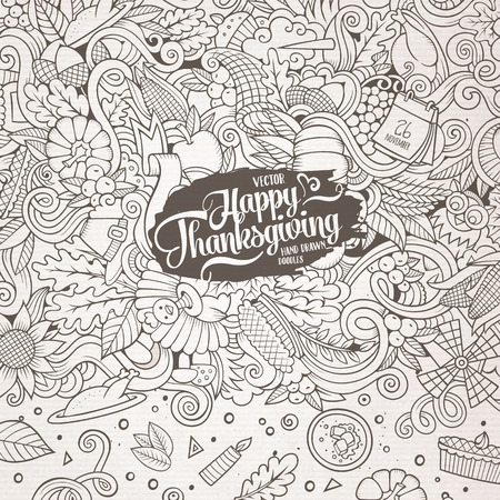 design objects: Cartoon vector hand-drawn Doodle Thanksgiving frame. Sketchy card design background with objects and symbols.