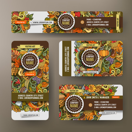 cranberry: Corporate Identity vector templates set design with doodles hand drawn Thanksgiving theme. Colorful banner, id cards, flayer design. Templates set