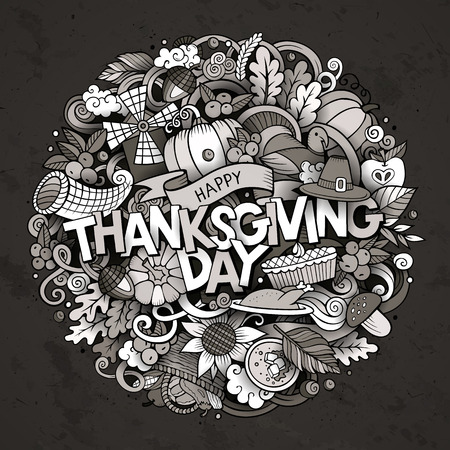 Cartoon cute doodles hand drawn Thanksgiving inscription. Sketchy illustration with holiday theme items. Line art detailed, with lots of objects background. Funny vector artwork