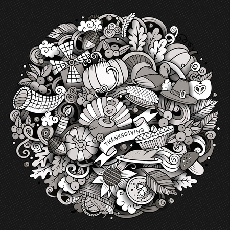 Cartoon vector hand drawn Doodle Thanksgiving Day circle illustration. Sketchy round detailed design background with objects and symbols. All objects are separated