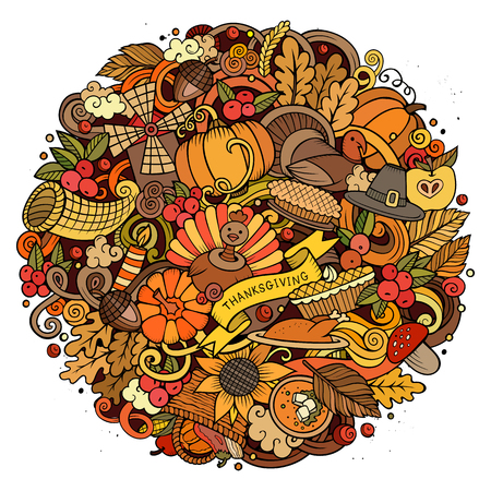 Cartoon vector hand drawn Doodle Thanksgiving Day circle illustration. Colorful round detailed design background with objects and symbols. All objects are separated. Amazing bright colors. Illustration