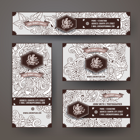 Corporate Identity vector templates set design with doodles hand drawn Coffee theme. Colorful banner, id cards, flayer design. Templates set