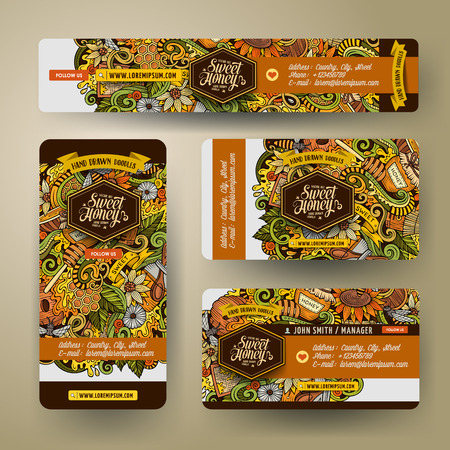 Corporate Identity vector templates set design with doodles hand drawn Honey theme. Colorful banner, id cards, flayer design. Templates set