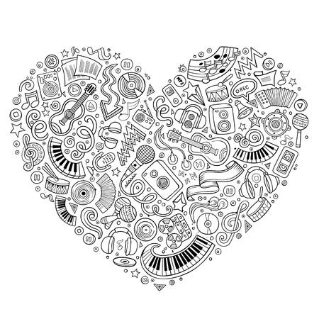 Line art vector hand getekende set van Music cartoon doodle voorwerpen, symbolen en artikelen. Hart vorm samenstelling Stock Illustratie