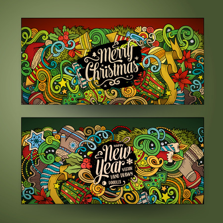 Cartoon tiré par la main doodles vecteur coloré mignon nouvelle année d'identité d'entreprise de saison. 2 horizontale conception de bannières. Modèles mis Vecteurs
