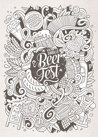 beer fest: Cartoon cute doodles hand drawn Oktoberfest illustration. Line art detailed, with lots of objects background. Funny vector artwork. Sketched picture with Beer fest theme items. Illustration