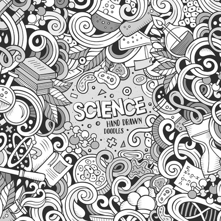 science scientific: Cartoon cute doodles hand drawn Science frame design. Line art detailed, with lots of objects background. Funny vector illustration. Sketchy border with scientific theme items