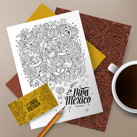 picchu: Cartoon cute sketchy vector hand drawn doodles Latin America corporate identity set. Templates design of business card, flyers, posters, papers on the table