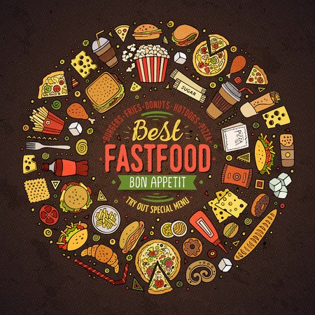 item: Colorful vector hand drawn set of Fast food cartoon doodle objects, symbols and items. Round frame composition