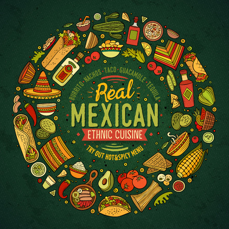 Colorful vector hand drawn set of Mexican food cartoon doodle objects, symbols and items. Round frame composition