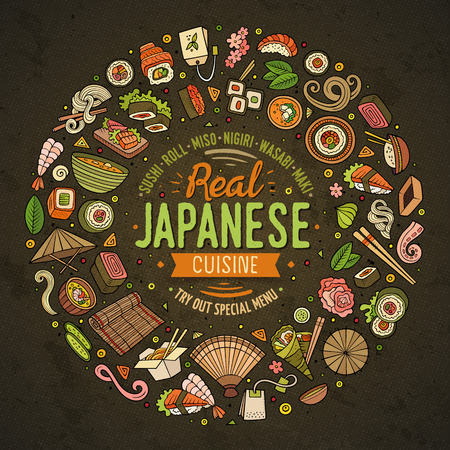 Colorful vector hand drawn set of Japanese food cartoon doodle objects, symbols and items. Round frame composition