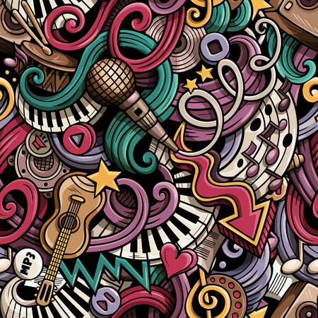 simbolos musicales: Cartoon cute doodles hand drawn Musical seamless pattern. Colorful detailed, with lots of objects background. Endless funny vector illustration. Bright colors backdrop with music symbols and items Vectores