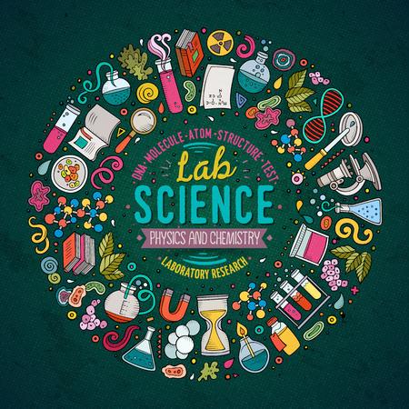 다채로운 벡터 손 과학 만화 낙서 개체, 기호 및 항목의 설정 그려. 라운드 프레임 구성