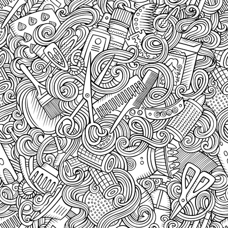 Cartoon line art cute doodles hairdressing salon seamless pattern. Detailed, with lots of objects background. Endless vector illustration.