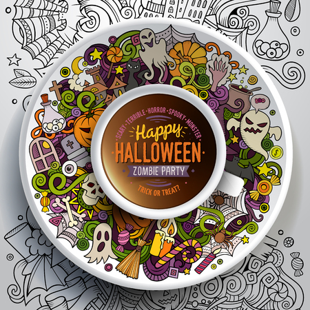 bezel: Vector illustration with a Cup of coffee with hand drawn Halloween doodles on a saucer, on paper and on the background Illustration