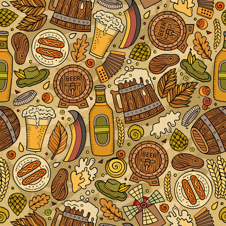 barrel tile: Cartoon cute hand drawn Beer fest seamless pattern. Colorful with lots of objects background. Endless funny vector illustration