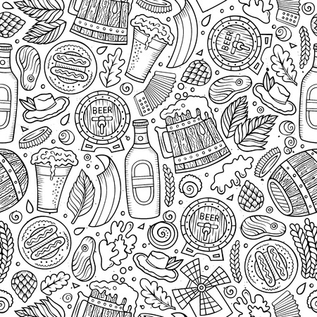 beer fest: Cartoon cute hand drawn Beer fest seamless pattern. Line art with lots of objects background. Endless funny vector illustration