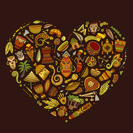 oasis: Colorful vector hand drawn set of Africa cartoon doodle objects, symbols and items. Heart form composition