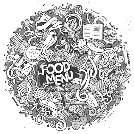 fastfood: Cartoon cute doodles hand drawn Fastfood illustration. Sketch detailed, with lots of objects background. Funny vector artwork. Line art picture with fast food theme items
