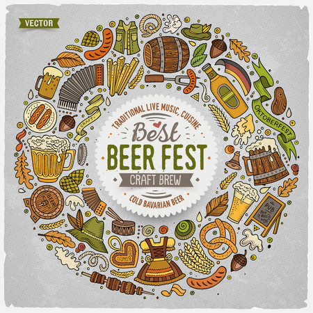 beer fest: Colorful vector hand drawn set of Beer fest cartoon doodle objects, symbols and items. Round frame composition