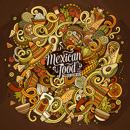 mexican background: Cartoon cute doodles hand drawn Mexican food illustration. Colorful detailed, with lots of objects background. Funny vector artwork. Bright colors picture with Mexico cuisine theme items