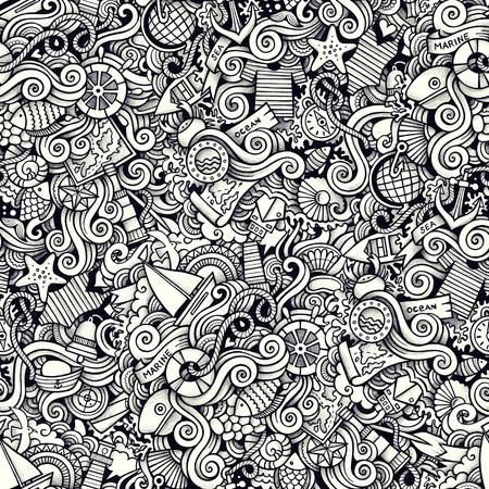 maillot de bain: Cartoon hand drawn marine nautical doodles seamless pattern. Line art detailed, with lots of objects raster background Banque d'images