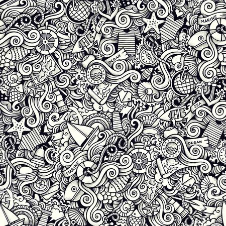 maillot de bain: Doodles marins dessinés à la main dessiné à la main sans trace de motif. L'art de la ligne est détaillé, avec beaucoup d'objets en raster Banque d'images