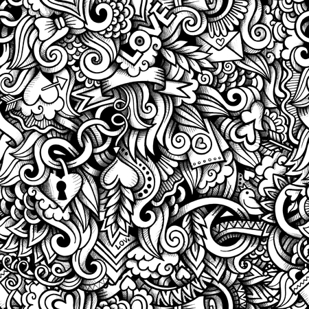 lovers: Cartoon hand-drawn doodles on the subject of love style theme seamless pattern. Raster background