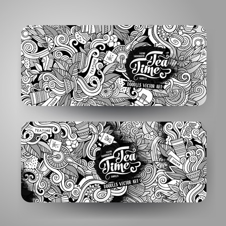 drink coffee: Cartoon cute line art vector hand drawn doodles tea corporate identity. 2 horizontal banners design. Templates set