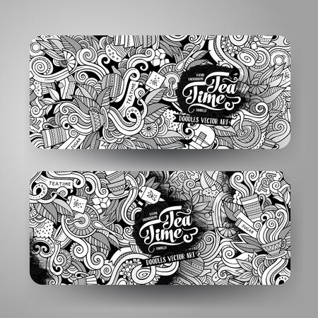 Cartoon cute line art vector hand drawn doodles tea corporate identity. 2 horizontal banners design. Templates set