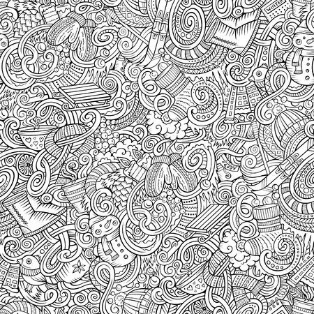 warm clothing: Cartoon cute doodles Winter season seamless pattern. Line art detailed, with lots of objects background. Endless vector illustration.
