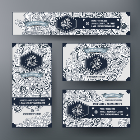 hand set: Corporate Identity vector templates set design with doodles hand drawn Winter theme. Line art banner, id cards, flayer design. Templates set