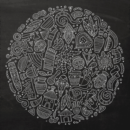 cartoon hand: Chalkboard vector hand drawn set of Africa cartoon doodle objects, symbols and items. Round composition Illustration