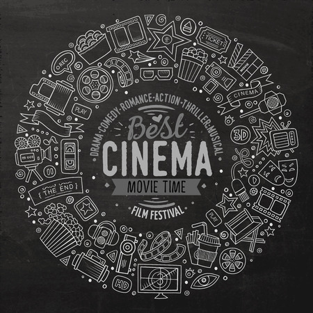Chalk board vector hand drawn set of Cinema cartoon doodle objects, symbols and items. Round frame composition
